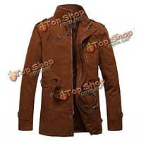 Мужской классической моды воротник стойка толстый открытый пальто случайный цвет жакет твердых