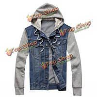 Плюс размер мужской джинсовой ткани джинсовой хлопковая смесь пэчворк куртка с капюшоном