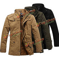Мужская мода стоять воротник толстые теплые куртки хлопка сплошной цвет корейском стиле тренчкот
