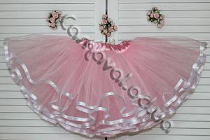 Юбка-пачка розовая с белыми лентами