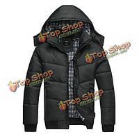 Мужской зимнее пальто черный пиджак теплый хлопка мягкий съемный капюшон пальто