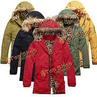 Зимой толстые теплые куртки меховой воротник капюшоном утепленная хлопка ватник верхней одежды