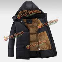 Мужская повседневная куртка хлопка толстый теплый hoodied черный зимний плащ