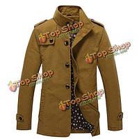 Мужская мода плюс размер случайных сплошной цвет куртки на открытом воздухе тренчкот