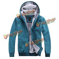 Мужские Толстовки Толстовки вскользь хлопка толщиной тонкий моды пальто сплошной цвет куртки