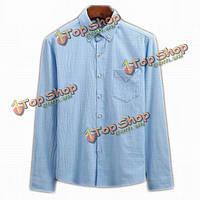 Мужская хлопок белье сплошной цвет тонкий приспособленный повернуть вниз воротник рубашки с длинными рукавами