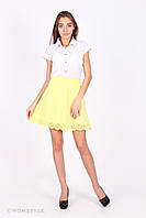 Молодіжна класична спідниця з текстилю з перфорацією (лимонна), фото 1