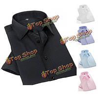Мужской черный белый летом моды простой короткий рукав саржа сплошной цвет случайные платье рубашка