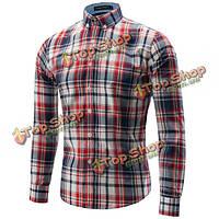 Мужской случайный стиль рубашки с длинным рукавом рубашки моды сетки платье