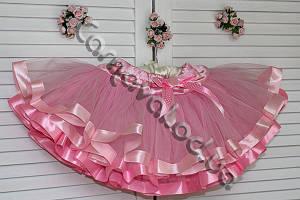 Нарядная фатиновая юбка розовая