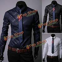 Мужские хлопок темно синий джинсовый бизнес повседневный длинный рукав рубашки