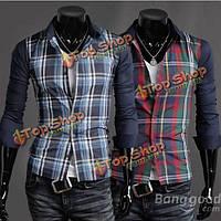 Мужская повседневная мода Slim сращивание рубашку плед рубашку с длинными рукавами