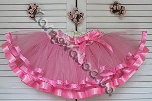 Нарядная фатиновая юбка розовая с лентами в горошек