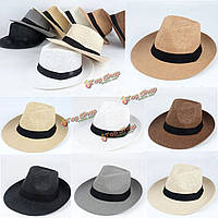 Унисекс Fedora Панама широкими полями фетровой шляпе ВС соломы Пляж крышка путешествия черная лента шляпу от солнца