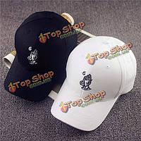 Мужчины женщины черный белый хлопок рука изогнута HipHop шляпа strapback SNAPBACK регулируемый бейсболке