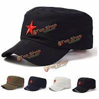 Унисекс красная звезда хлопок армия кадет военно крышка регулируется шляпа