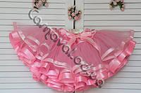Нарядная фатиновая юбка розовая с атласными лентами