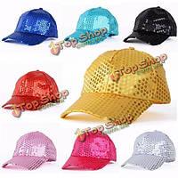 Мужчины женщины дети блесток живота джазовый танец хип-хоп шляпа регулируемые бейсболки