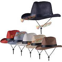 Унисекс мужчины женщины солому дискета полоса шляпа фетровая шляпа котелок пляж фетровой панама со строкой