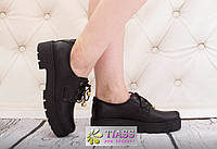 Кожаные женские туфли на шнурках черные р. 36-41