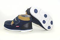 LADDABB Детские кожаные ботинки на липучке Ортопедические темно - синие ботиночки