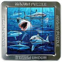Пазлы магнитные с 3D изображением в металлической коробке, 16 элементов. Акулы (21164) Сheatwell