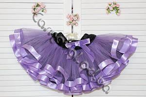 Нарядная фатиновая юбка сиреневая с лентами в горошек