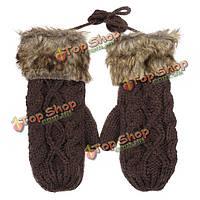 Zanzea снега варежки вязаные теплые повесить шеи короткие перчатки