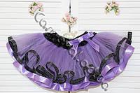 Нарядная фатиновая юбка сиреневая с черной лентой в горошек