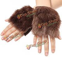 Зимние перчатки из искусственного поддельные меховой рукавицей ладонь теплее