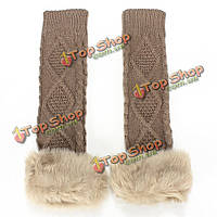 Zanzea искусственного меха с длинным рукавом перчатки без пальцев