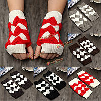Женщины дамы крючком вязаные перчатки без пальцев рук запястья теплые варежки смешанный цвет