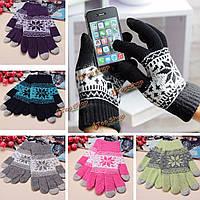 Унисекс мужчины женщины трикотажные снежинка смартфон сенсорным экраном перчатки рукавицы полный палец