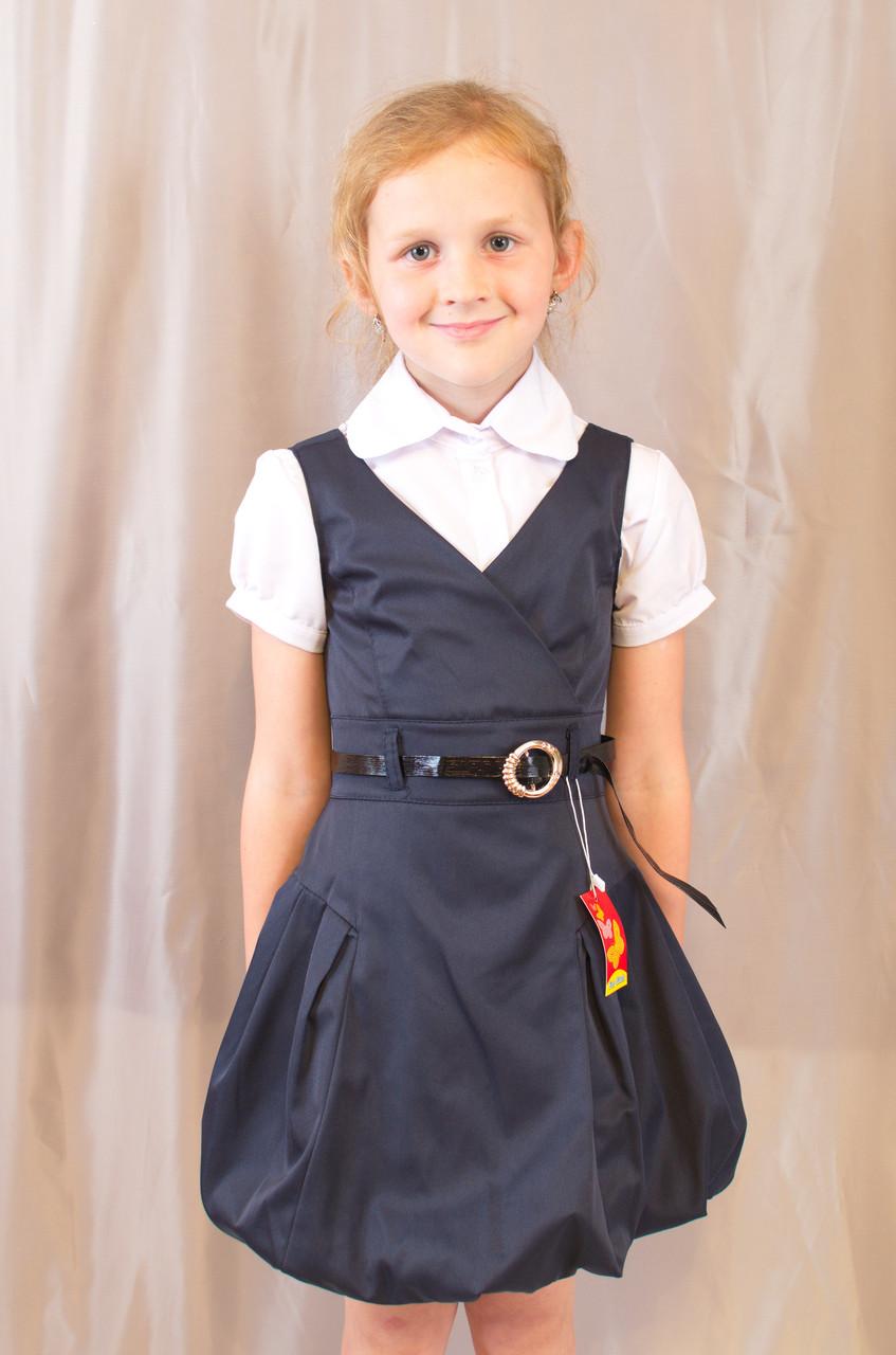 Детский школьный стильный сарафан с поясом, синий