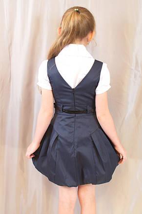 Детский школьный стильный сарафан с поясом, синий, фото 3