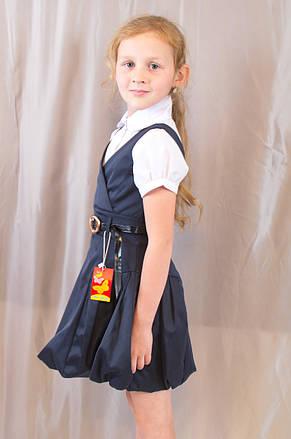 Детский школьный стильный сарафан с поясом, синий, фото 2