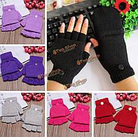 Мужчины женщины трикотажные перчатки без пальцев толстые теплые половиной пальца флип варежки