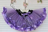 Нарядная фатиновая юбка сиреневая с яркой лентой в горошек