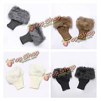 Дамы наручные мех зимние теплые трикотажные перчатки без пальцев