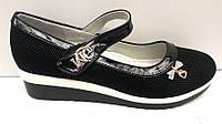 Туфли школьные для девочки на танкетке 32-37 размеры KF0372