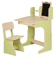 Парта с мольбертом растущая + стульчик (цвет салатовый), Финекс