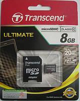Карта памяти Transcend microSD 8GB class 10 + SD адаптер