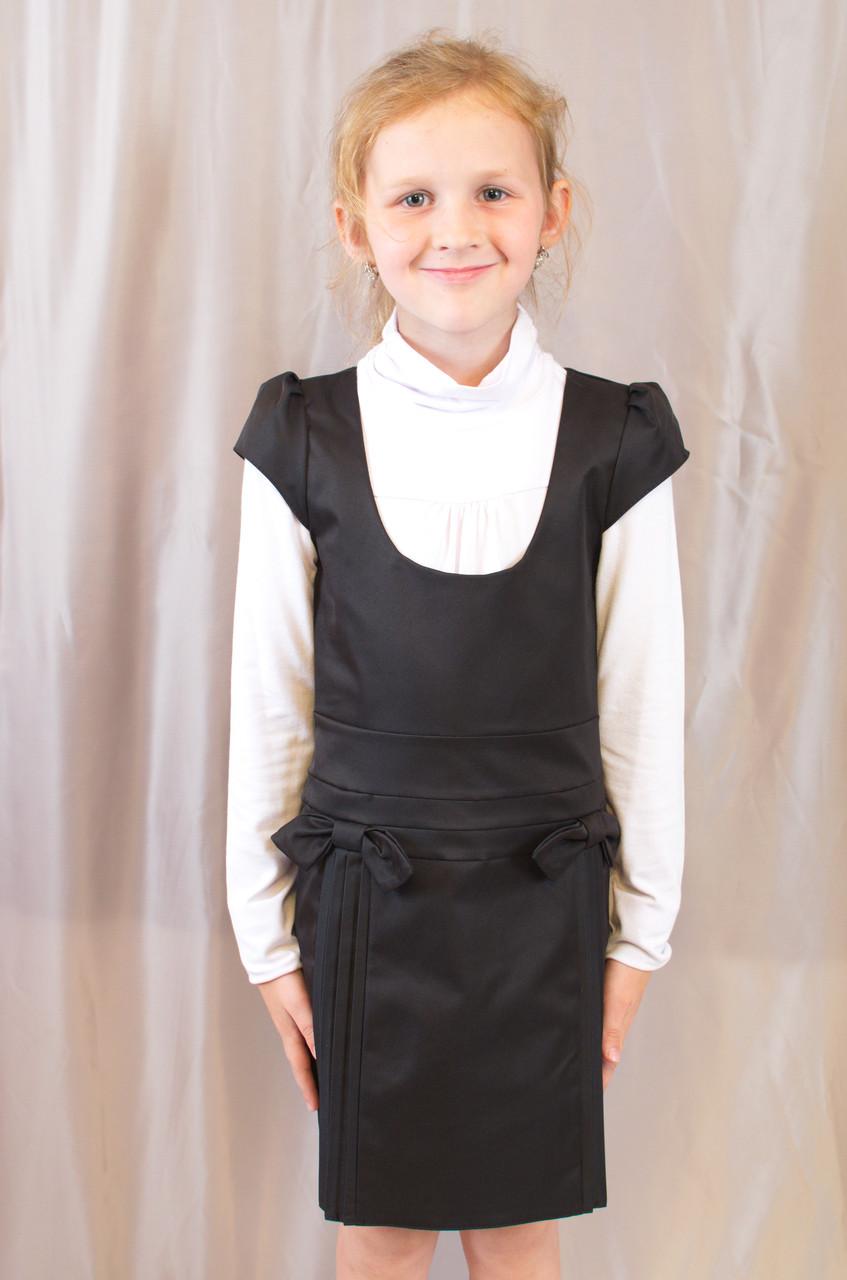 Детский школьный стильный сарафан с бантиками, синий, черный.