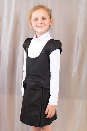 Детский школьный стильный сарафан с бантиками, синий, черный., фото 2