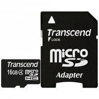 Карта памяти Transcend microSDHC 16 GB Card Class 4 + SD adapter