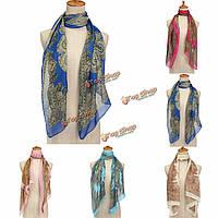Женщины шифон старинные печатные цветочный шарф платок палантин обернуть шею теплым пашмины