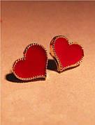 Сережки-гвоздики червоні Сердечка