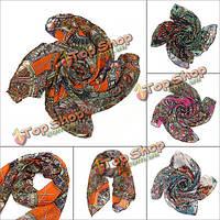 Женщины шарф леди шифон печати шелковый шарф длинной шее платок пашмины