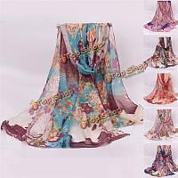 Женщины дамы цветок небо колесо отпечатанные вуали scraves украл длинный мягкий обруча шали