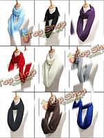 Зимой женский Теплый Вязаний Воротник Шерстяной шарф